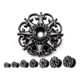 Black Star in Filigree Screw Fit- Sold as a pair.