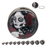 Steel Screw Fit Plugs with a Calavera Logo(Day of Dead women) - Sold in Pairs