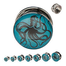 Steel Screw Fit with a Nautical Octopus Graphic Plugs - Sold in Pairs