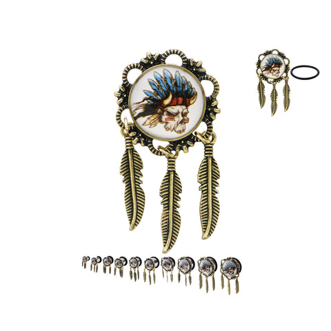Indian Chief Skull and Feather Feather Dangles. Sold in pairs.