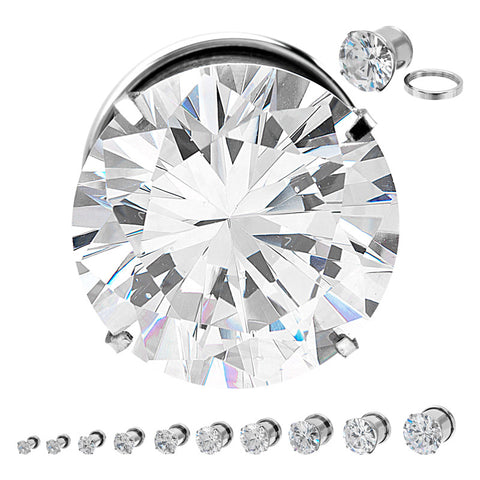 Clear CZ Prong Set Threaded Plugs - Sold in Pairs
