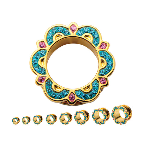 Sedona Bali Tunnel Plugs with Blue Zircon & Pink gems- Sold in pairs