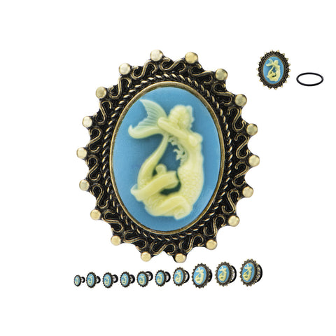 Mermaid Cameo steel plugs.  Sold in Pairs.