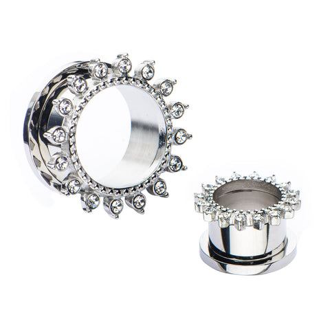Clear CZ's on outer edge Screw Fit Tunnels-Sold as a pair