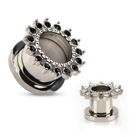 Black CZ's on outer edge Screw Fit Tunnels-Sold in Pairs