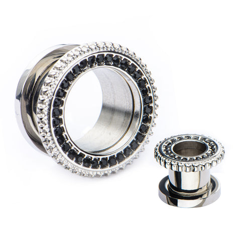 Black CZ with Crimped steel edges-Screw Fit Tunnels-Sold in Pairs