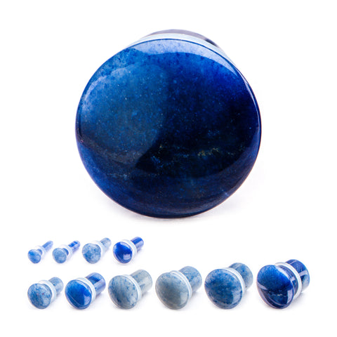 Blue Aventurine Single Flare Stone Plugs. Sold as a pair.