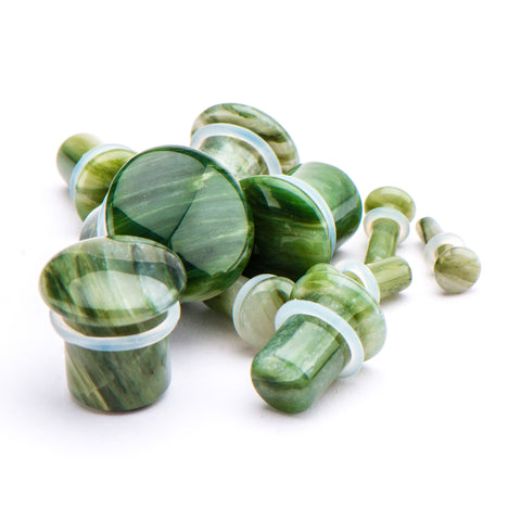 Green Line Jasper Stone Single Flare Plugs. Sold as a pair.