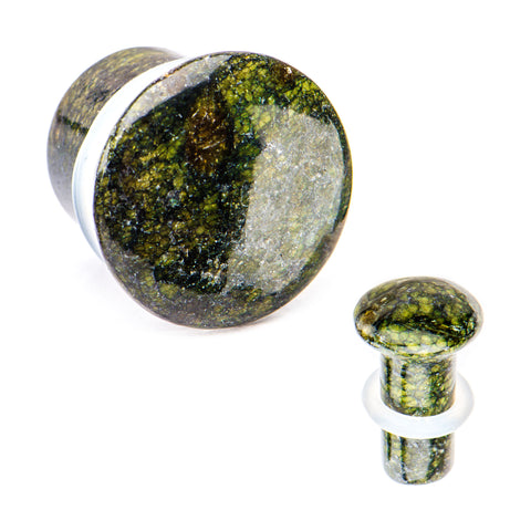 Green Serpentine Stone Single Flare Plugs. Sold as a pair.