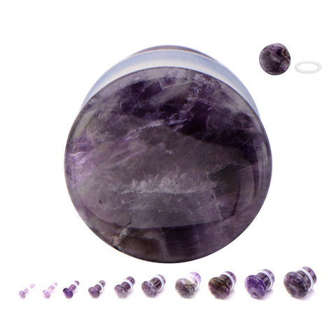 Amethyst Single Flare Plugs. Sold as Pairs