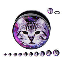 Black Acrylic Screw Fit Demonic Cat in Galaxy Logo Plugs - Sold in Pairs