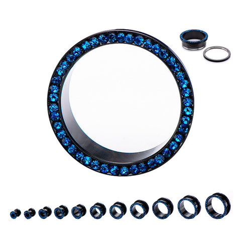 Blue Multi-gem  -Black Screw fit Tunnels.  Sold in Pairs.