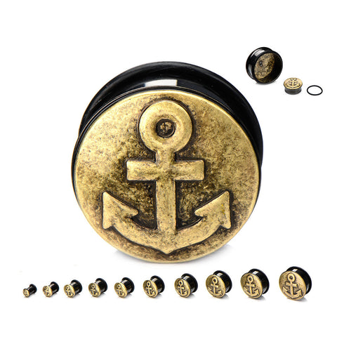 Antique Brass Colored Anchor Plugs- Sold in Pairs