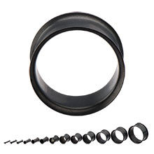 Matte Black PVD Finish 316L Surgical Steel Double Flared Tunnels - Sold in Pairs