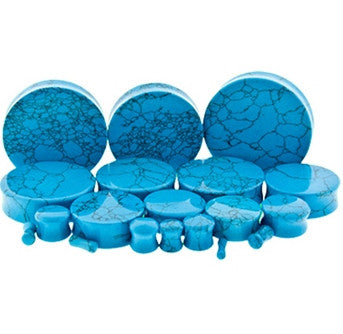 Turquoise Dyed Howlite Stone Plugs - Sold in Pairs