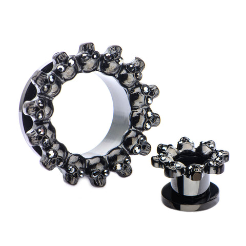 Black Multi-skull head design-Screw Fit Tunnels-Sold in Pairs