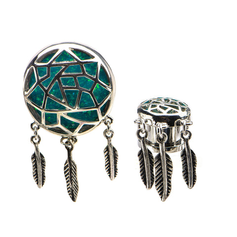 Dreamcatcher Plugs with Glitter Resin Inlay Screw Fit Plugs-Sold as a Pair
