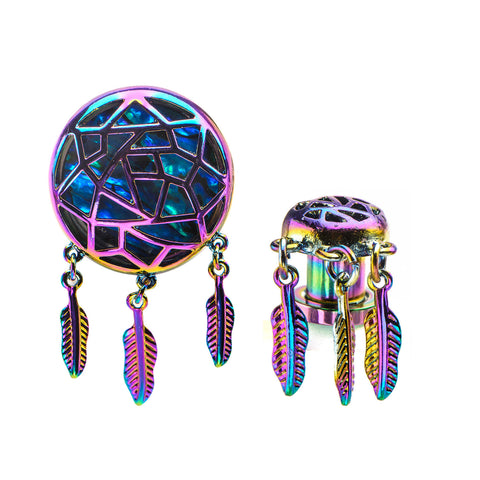 Rainbow Dreamcatcher Plugs with Abalone Inlay Screw Fit Plugs-Sold as a Pair