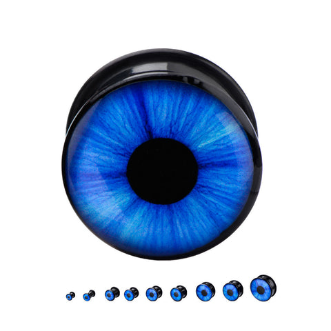 Blue Eye Front  - Black Acrylic Plug.  Sold in Pairs