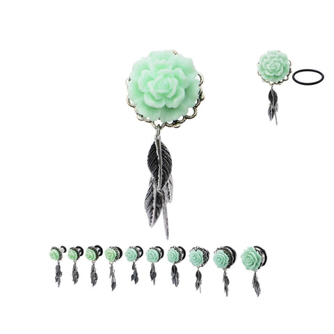 Mint Green Rose Frame Front and Leaf Dangles Plugs- Sold in pairs