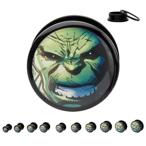 Hulk Face Screw Fit Acrylic Plugs-Sold as a Pair