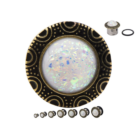 Faux White Opal Cabachon Frame Front Plugs- Sold in pairs