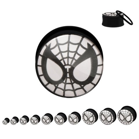 Spiderman Face(Glow) Black Acrylic Screw Fit Plugs-Sold in Pairs
