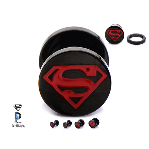 Superman Logo Red Enamel Front on black screw fit plugs.  Sold in pairs.