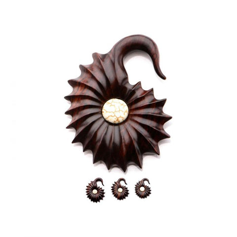 Sono Wood Shell Amonite Hangers-Sold in Pairs