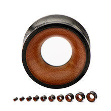 Double Flared Arang Wood Concave Tunnels with Saba Wood Inlays - Sold in Pairs