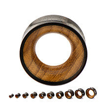 Double Flared Arang Wood Concave Tunnels with Teak Wood Inlays - Sold in Pairs