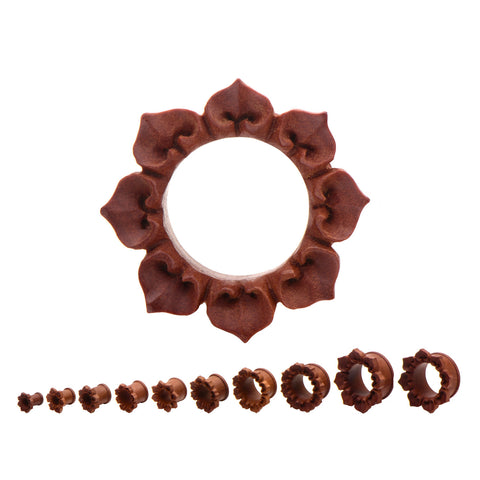 Hand Carved Flower Pedal Plugs- Sold in pairs