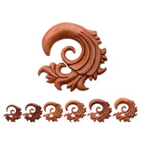 Filigree Wave Hangers-Red Saba Wood.  Sold in pairs.
