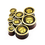 Buddha Head Front-Wood Double Flared Plugs-Sold as a pair