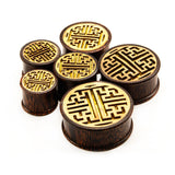 Etched Chinese Maze-Wood Double Flared Plugs-Sold as a pair