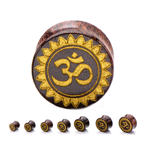 Gold Ohm Symbol Face Wood Plugs.  Sold in Pairs
