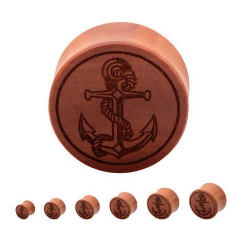 Anchor - Laser Etched Wood Plugs - Sold in Pairs