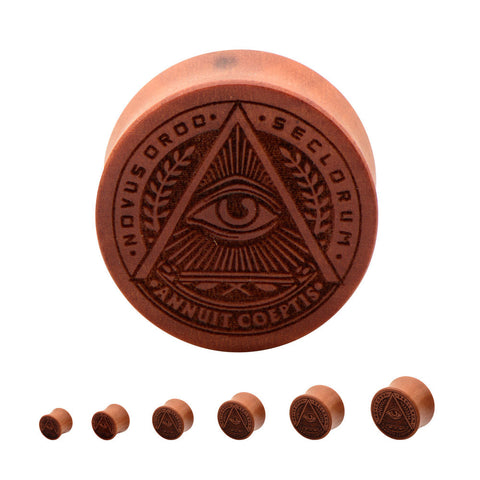 All Seeing Eye Wood Plugs.  Sold in pairs.