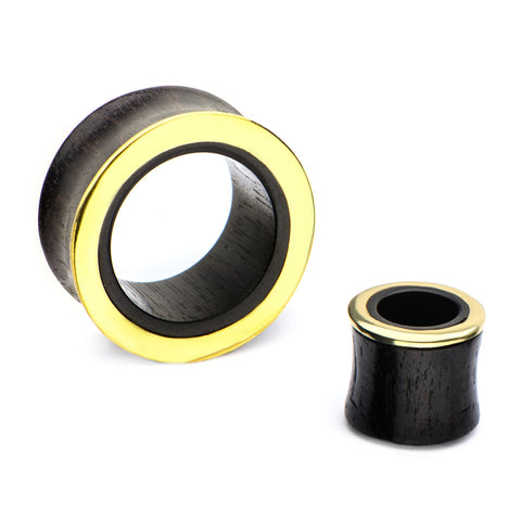 Iron Wood Tunnels with Gold Rim-Sold as a pair
