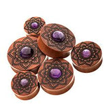 Sawo Wood with Amethyst Stone Double Flared Plugs.  Sold as Pair
