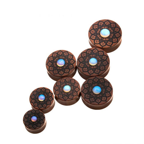 Sawo Wood with Opal Stone Plugs-  Sold as Pair