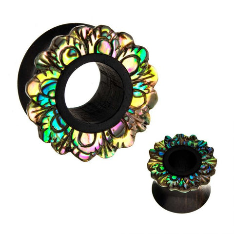 Flower-Abalone Shell Double Flared Black Iron Wood Tunnels- Sold as Pair