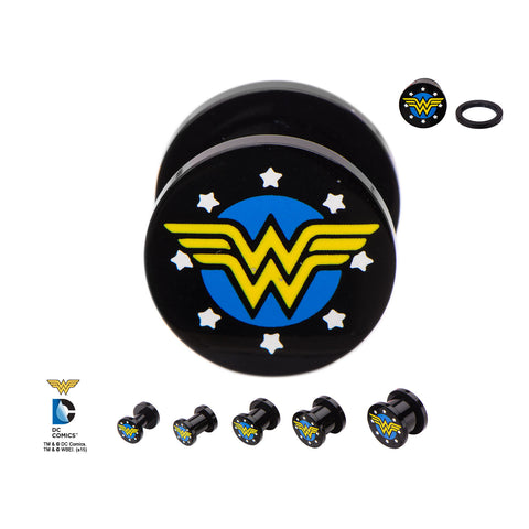 Wonder Woman Logo Acrylic Plugs. Sold as Pair