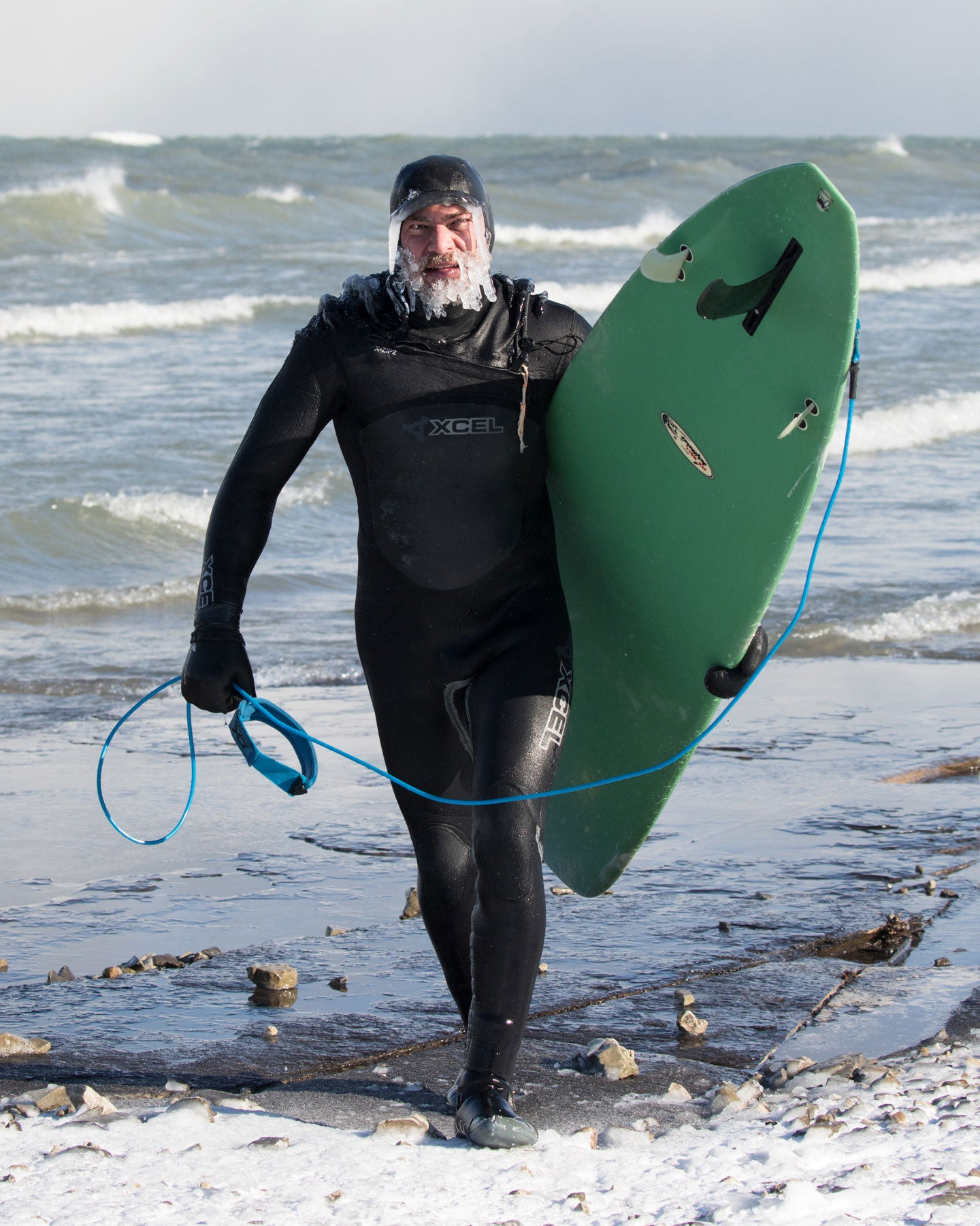 Lucas Murnaghan Surf the Greats Great Lake Surfing Georgian Bay Collingwood Canada Ontario Ice Beard