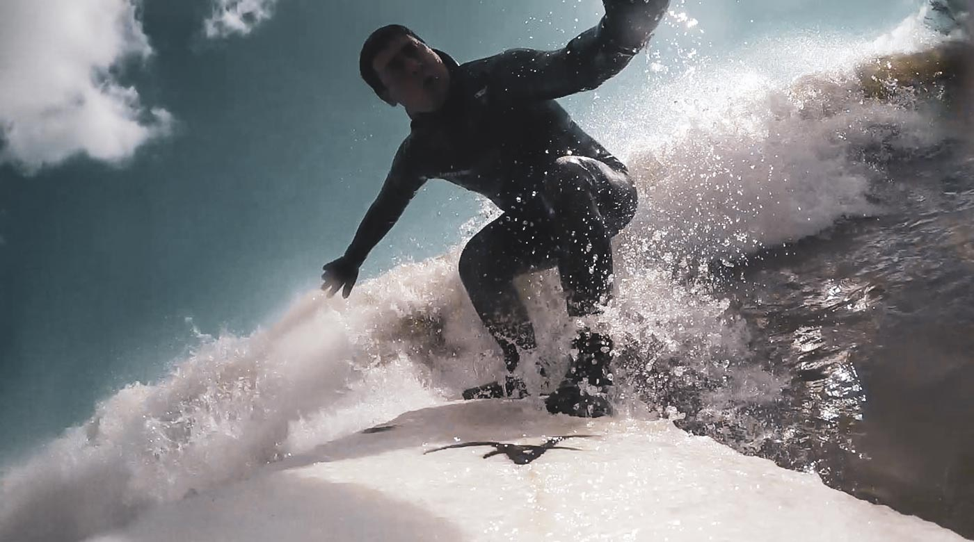 Brad Van Rooi surfing Lighthouse in Toronto, Great Lakes