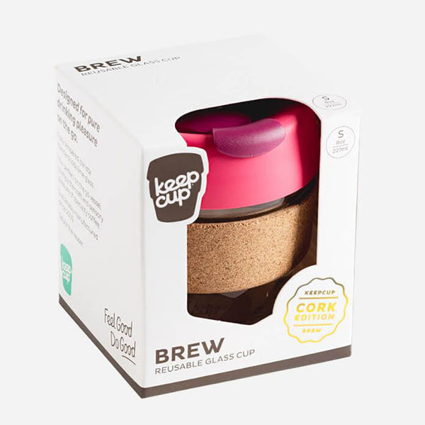 Keep Cup Reusable Cup - 8 Oz Brew Glass 'Cork Edition' - Variety of Colours