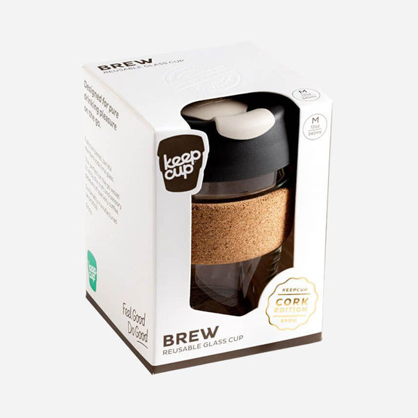 Keep Cup Reusable Cup - 12 Oz Brew Glass 'Cork Edition' - Variety of Colours