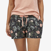 "Patagonia Women's Island Hemp Baggies Shorts - 3"" - Fiber Flora Multi Big: Ink Black"