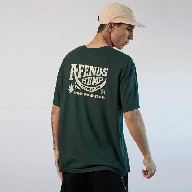 Afends Bugle Hemp Retro Fit T-Shirt - Forest