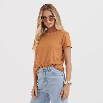 Afends Womens Hemp Basic Standard Fit Tee - Clay